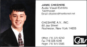 Jamie Cheshire business card, age 17